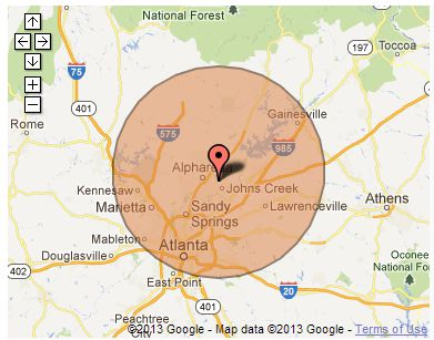 Service Area Map of Atlanta Appliances Repair (404) 707-4366